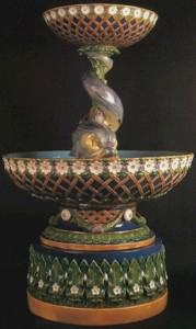 Minton_Two_Tier_Daisy_and_Trellis_with_Dolphin_Fountain