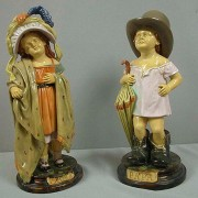 Brownfield Majolica figural: children playing MAMA & PAPA