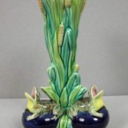 Frog and bulrush vase
