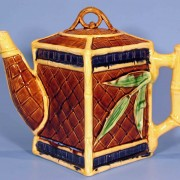 Basketweave and leaf teapot