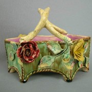 Floral and leaf octagonal basket