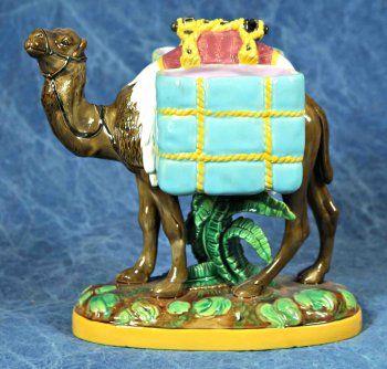 George Jones Majolica Camel Sweet Meet Dish Gj Initials