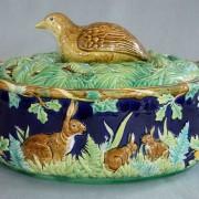 Partridge with empty nest game pie dish