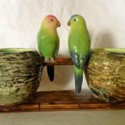 Jerome Massier parakeets table center
