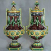 Minton neoclassical mantle vases
