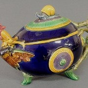 Minton monkey and cockerel teapot with snail finial
