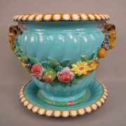 Minton rams head and floral jardiniere