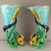 Dolphin and cattail vases