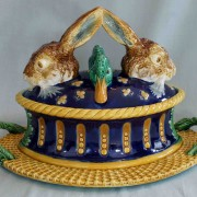 Rare hare and duck game pie dish