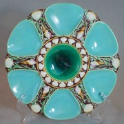 Minton turquoise six well oyster plate