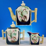 Thomas Forester bird on branch teaset with Chinaman finials