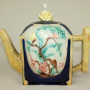 Thomas Forester bird on branch teapot with Chinaman finial