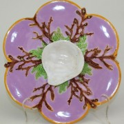 George Jones pink shell and coral oyster plate
