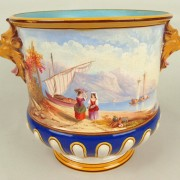 Minton wine cooler with painted scenes