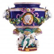 Minton monumental ram head vase by Carrier-Belleuse