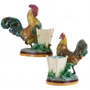 Rooster and hen vases by John Henk